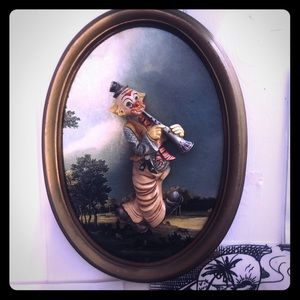 *Rare Fontanini porcelain clown framed